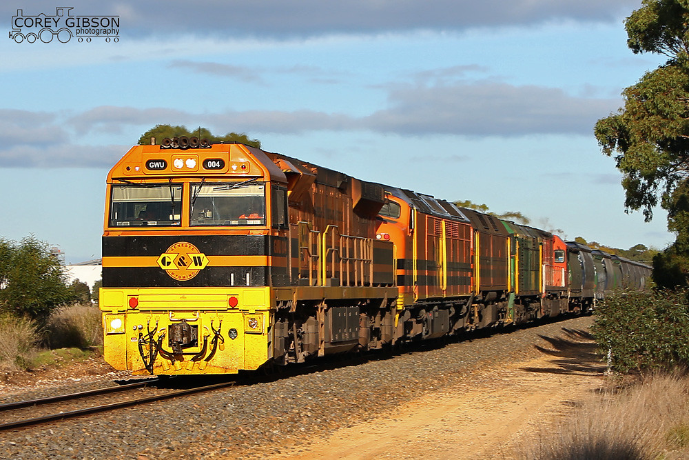 GWU004, CLF6, 2212, 705 & FQ03 with a loaded grain train from Wolseley by Corey Gibson