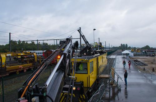 2016 belgium belgique lalouvière hainaut infrabel train réseau network entretient maintenance autorailcaténaire autorail es500 pluie rain jde journéedelentreprise sncb nmbs