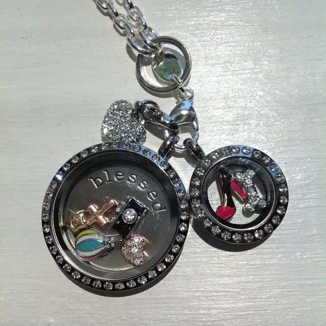 Colorful Origami Owl Locket with Dangles - Large Silver Locket ... | 640x640