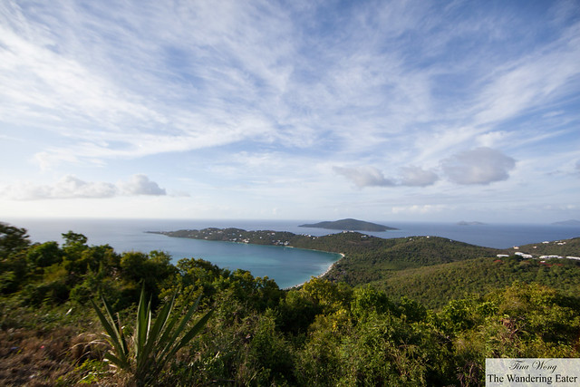 Wide angled view of Margens Bay and its neighboring islands from Mountain Top