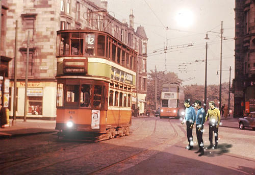 A Selection Of Manipulated Images : Captain Kirk Bones And Spock Materialise Beside A Tram In Glasgow Scotland - 5 Of 5
