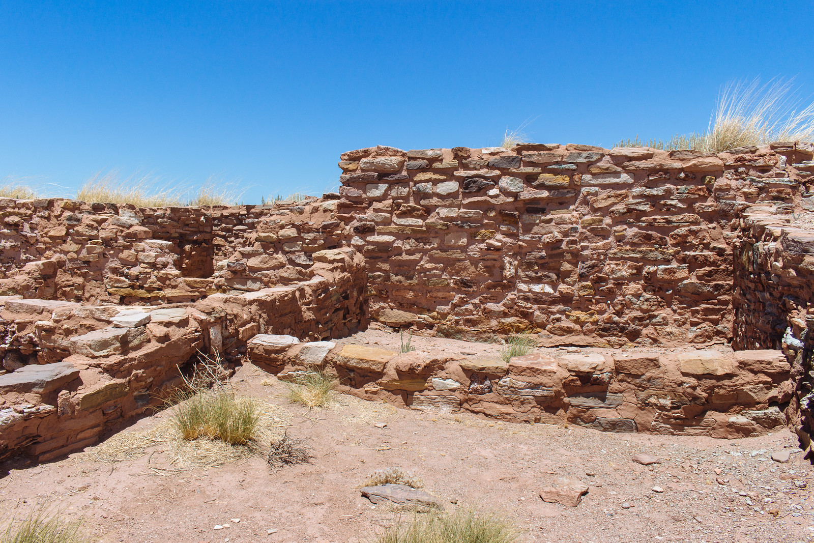 Low walls made of stone at Homolovi State Park in Arizona