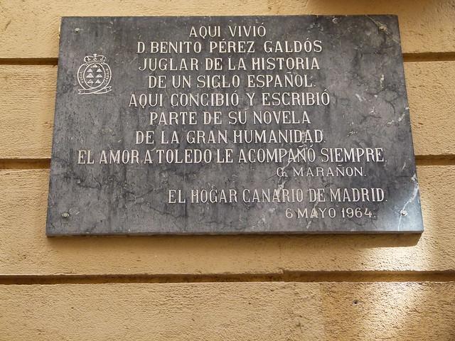 Placa dedicada a Benito Pérez Galdós en Toledo