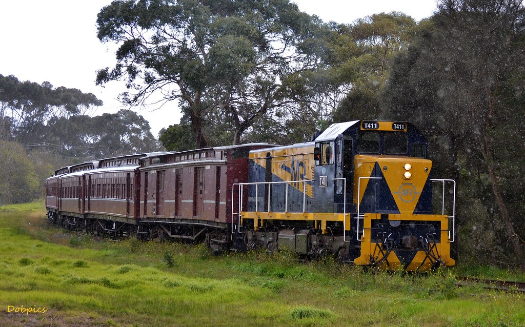 T411 departs Mornington in the rain, bound for Moorooduc. 10/8/14 by Dave O'Brien