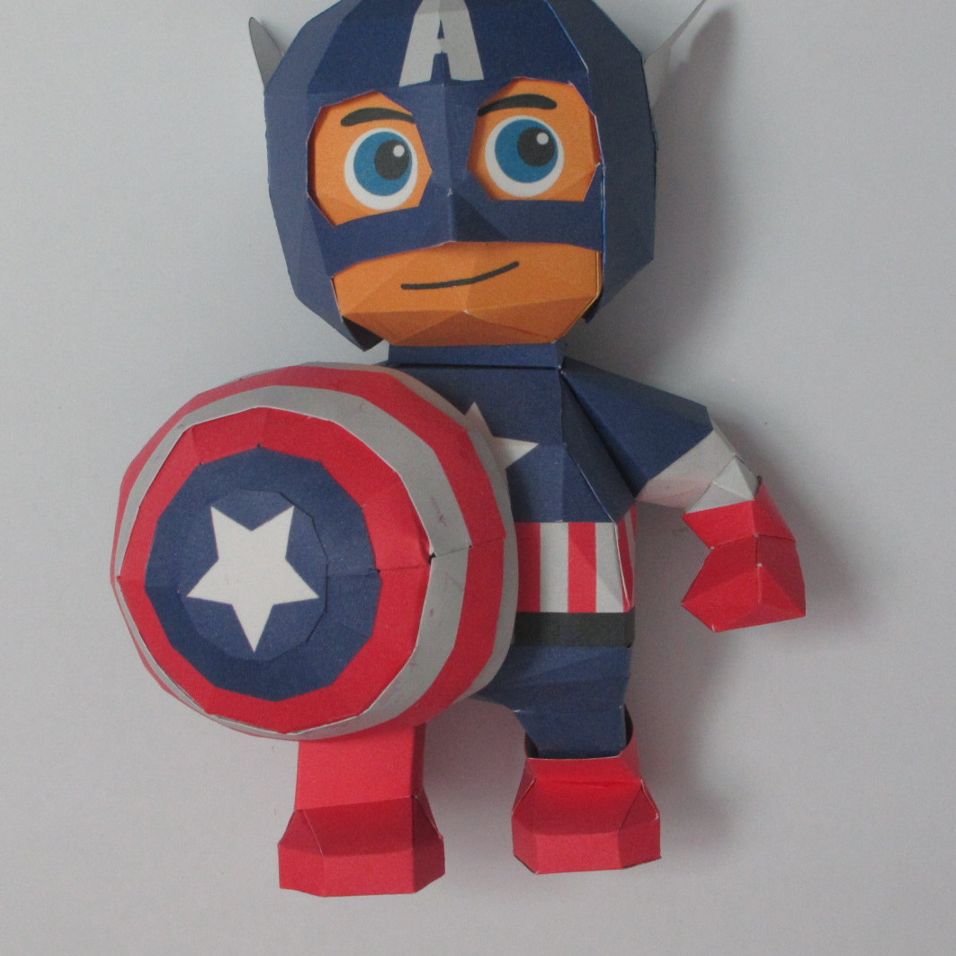 วิธีทำของเล่นโมเดลกระดาษกับตันอเมริกา (Chibi Captain America Papercraft Model) 030