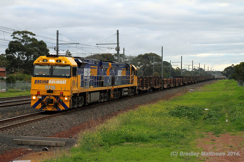 9316-9317 with 4PW4 steel goods to Melbourne, later to Port Kembla at Hoppers Crossing (15/6/2014) by Bradley Matthews
