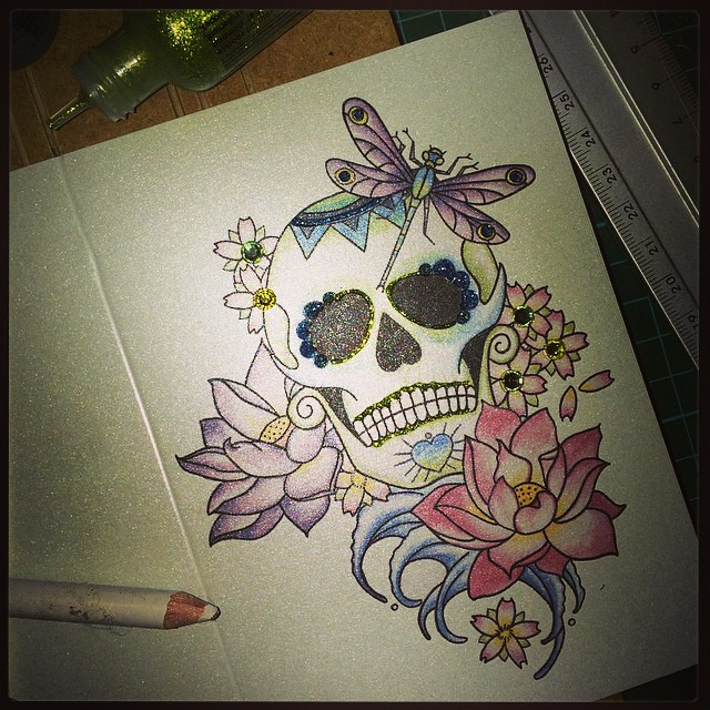 Lotus Flower Dragonfly Sugarskull Mexican Dayofthede