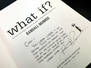 Randall Munroe's inscription on What If?, my PO Box, Barbican, London, UK | by gruntzooki