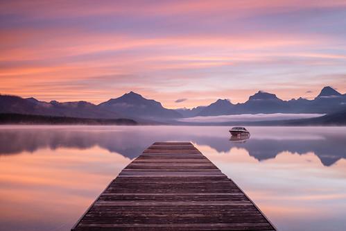 fujixpro2 sunrise travel nature nationalpark lake usa landscape montana xf23mm westglacier unitedstates us ngc jetty