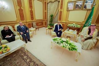 Secretary Kerry Sits with Crown Prince bin Salman