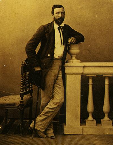 """Louis Eugène Sevaistre. """"Mon portrait convalescent après 4 mois de maladie (fièvre typhoïde)"""". Estereoscopia a la albúmina. Civico Archivio Fotografico, Milano. Ca. 1862"""