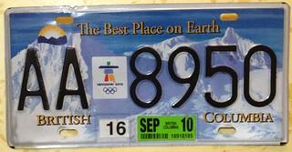 BRITISH COLUMBIA OLYMPICS 2010---TRUCK PLATE