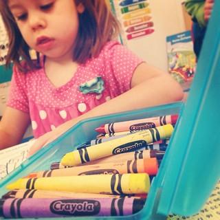 On the third day of Kindergarten the crayons became one pile per table.  Why?  because #sharingiscaring #isadoraclaire #acmekids | by ACME-Nollmeyer