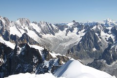 Extreme Environments: Cirque (Corrie) of Glacier de Talefre from Aiguelle du Midi, Mont Blanc Massif, France