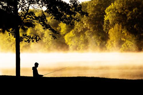 morning light boy mist minnesota silhouette misty sunrise river mississippi early fishing steam teenager