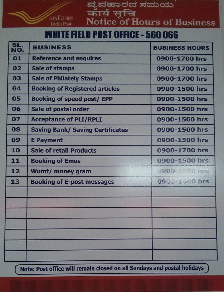 Timing Hours Of Business At Whitefield Post Office Bang Flickr