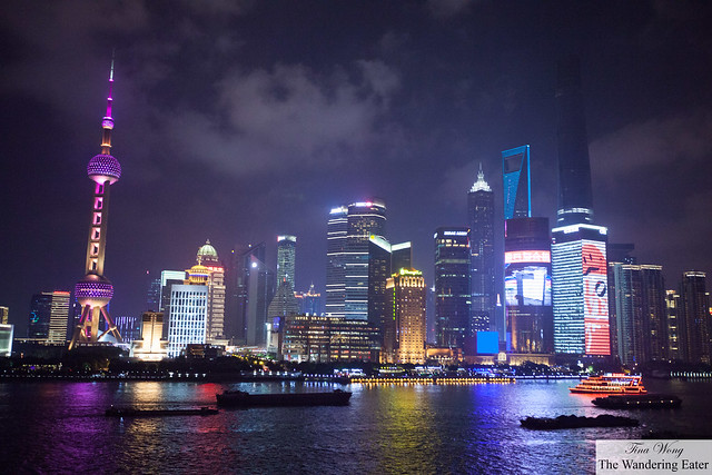 The spectacular view of The Bund from the terrace of M on the Bund