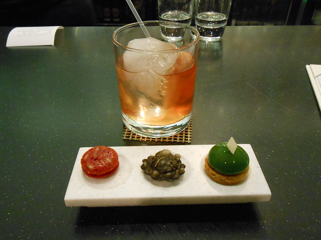 Whiskey Negroni with canapés