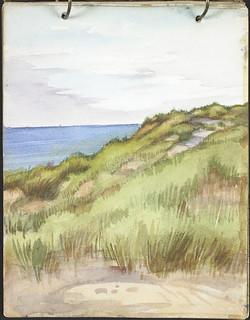 View of a grass-covered sand dune with sea visible in background [Sketchbook 9, folio 4r] / Vue d'une dune de sable herbeuse avec mer en arrière-plan [Carnet de croquis 9, folio 4r]