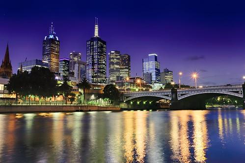travel bridge skyline night buildings reflections river lights australia melbourne clear bluehour centralstation oceania