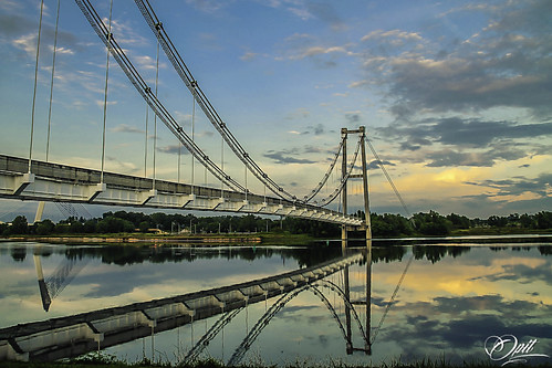 bridge lake reflection water clouds sunrise landscape cloudy malaysia putrajaya hdr