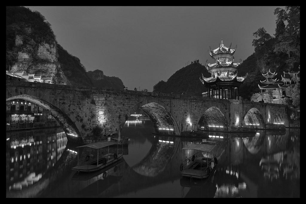 Zhenyuan ancient city by night in B&W. 鎮遠古鎮 Guizhou China [EXPLORE 30/08/2014]
