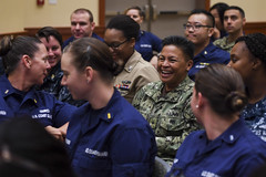 Rear Adm. Bette Bolivar, commander of Joint Region Marianas, interacts with Sailors and Coast Guardsmen during the 2016 Women's Leadership Symposium. (U.S. Navy/P02 Somers Steelman)