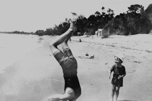 children candid queensland beaches handstand 1910s 1915 swimsuits herveybay statelibraryofqueensland slq
