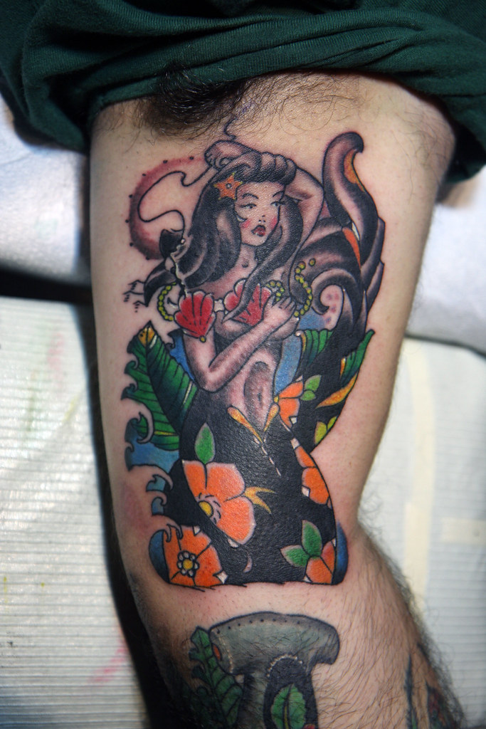 Traditional Mermaid Tattoo Tattoo And Design By Chris Henr Flickr