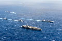 USS Ronald Reagan (CVN 76) and JS Izumo (DDH 183) lead ships breaking formation during exercise Keen Sword in November. (U.S. Navy/MC1 Elijah G. Leinaar)