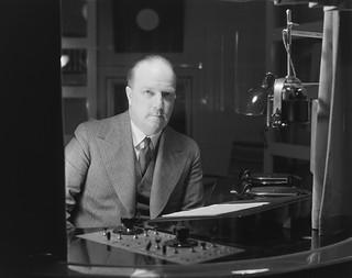Radio announcer Markus Rautio in the studio, ca. 1930.