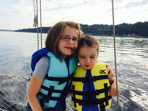 travel family girls summer vacation portrait water kids sisters sailboat washington sailing pugetsound 500views bainbridgeisland evie mady 2014