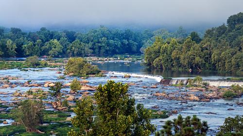 morning blue trees summer green fall fog river james virginia rocks downtown richmond line rva