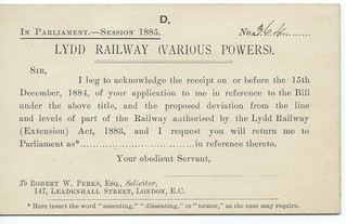 Lydd Railway support for construction card 1885 | by ian.dinmore