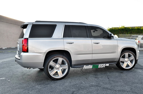 "2015 Chevy Tahoe on 24"" Texas Edition wheels in silver 