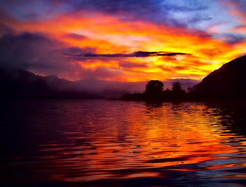 morning sun lake fog sunrise kärnten carinthia ossiach ossiachersee
