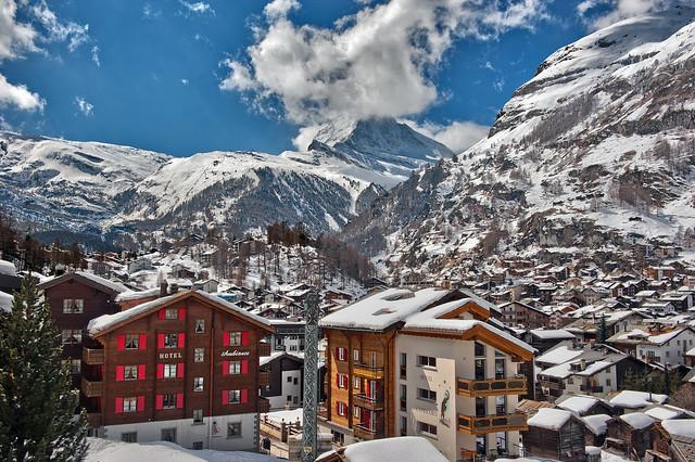 Zermatt the village and the Matterhorn .White season...Happy Holidays Merry X'mass and a Happy New Year 2017!   No 4195.