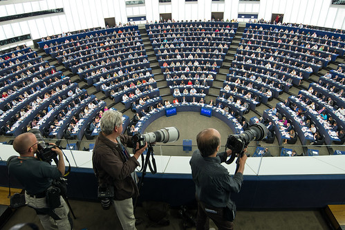 Journalists are following the vote on TTIP in the Plenary chamber of the European Parliament | by European Parliament