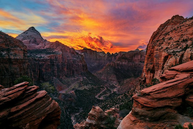 Sunset at Zion Canyon Overlook