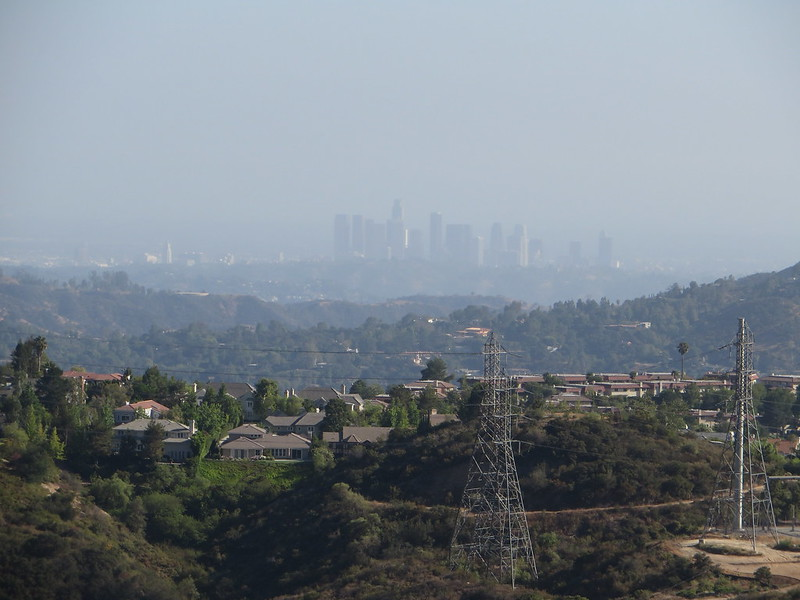 View of Los Angeles Skyline, Angeles Crest Highway, La Canada Flintridge, California