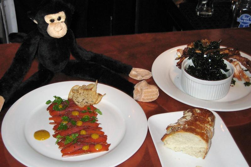 Salmon pastrami, artichoke dip with fried kale