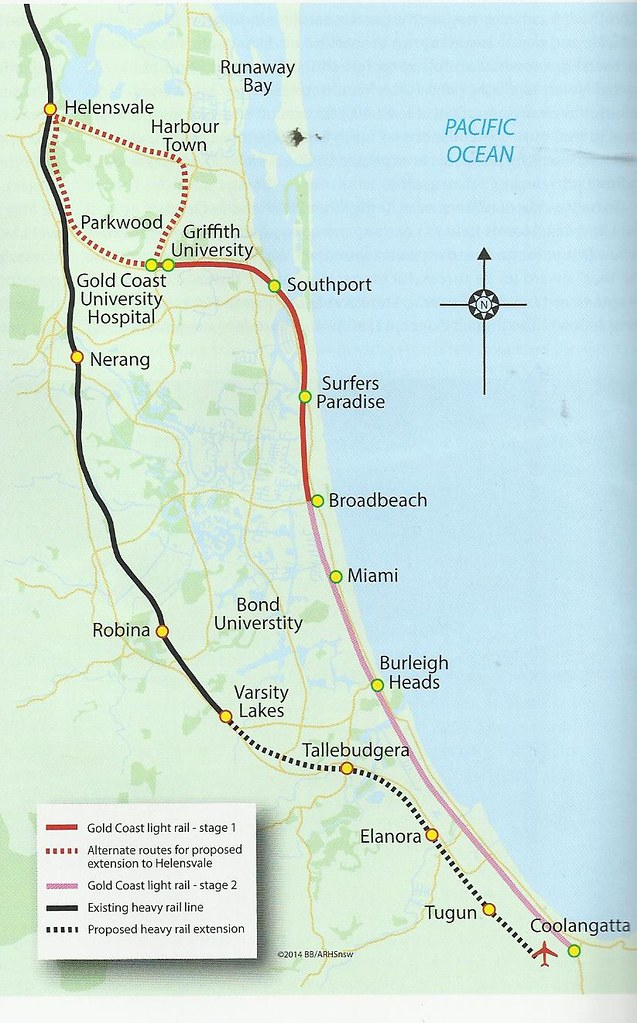 Gold Coast Light Rail Map Map of the Gold Coast light rail line. John Coyle scan. | Flickr