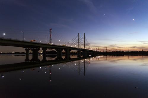 bridge saitama toda japan lake sunset dusk reflection a7ii alpha7ii sonya7ii alphaa7ii sonyalpha7ii sonyalphaa7ii sony