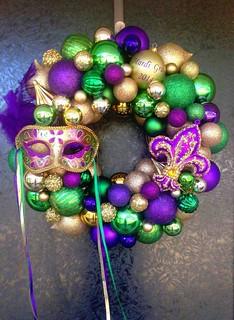 Mardi Gras Ornament Wreath