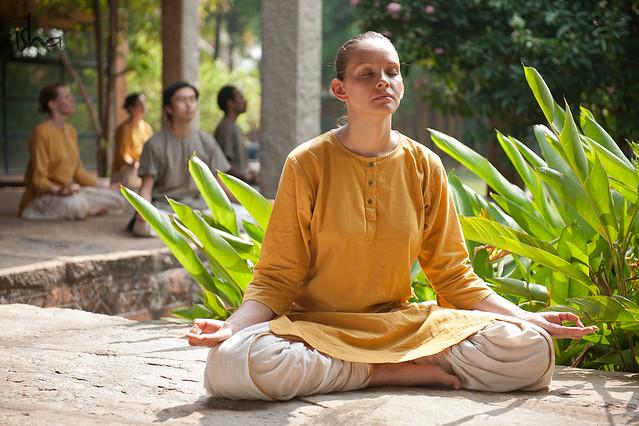 Meditation at Isha yoga center