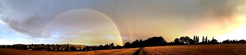 uk sunset sky clouds landscape rainbow pano hertford iphone