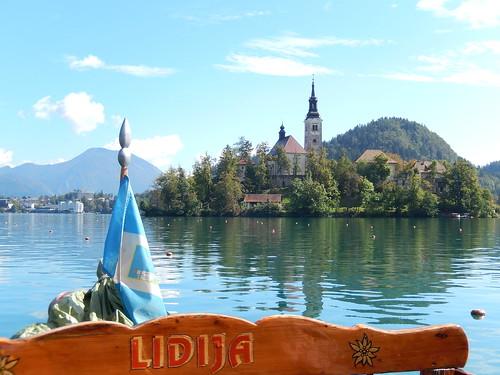 Eiland in lake Bled vanaf gondola