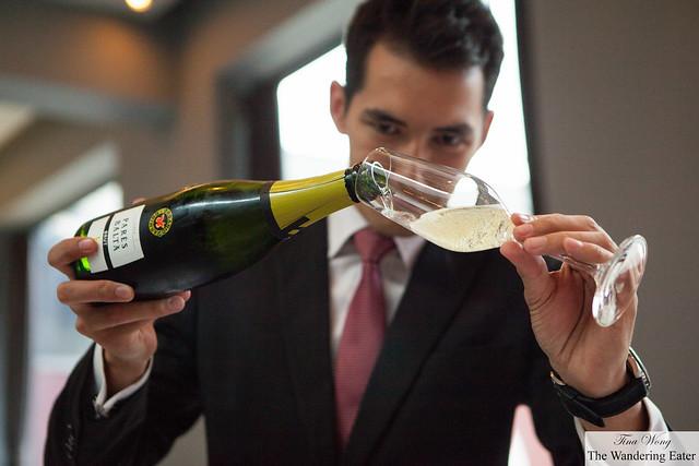 Our captain pouring our glasses of Parés Balta Cava