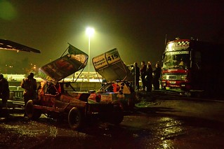 Ed Neachell and Russell Cooper cars, Belle Vue pits, 30-10-16