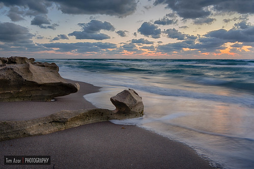 ocean sunset sky orange usa sun sunlight beach water colors rock clouds america sunrise landscape coast sand rocks waves florida cloudy tide shoreline rocky shore jupiter hdr hightide carlinpark canon6d timazar